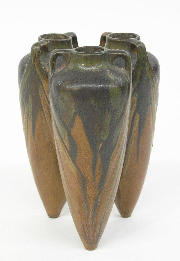 6019: Art pottery triple conical form vase