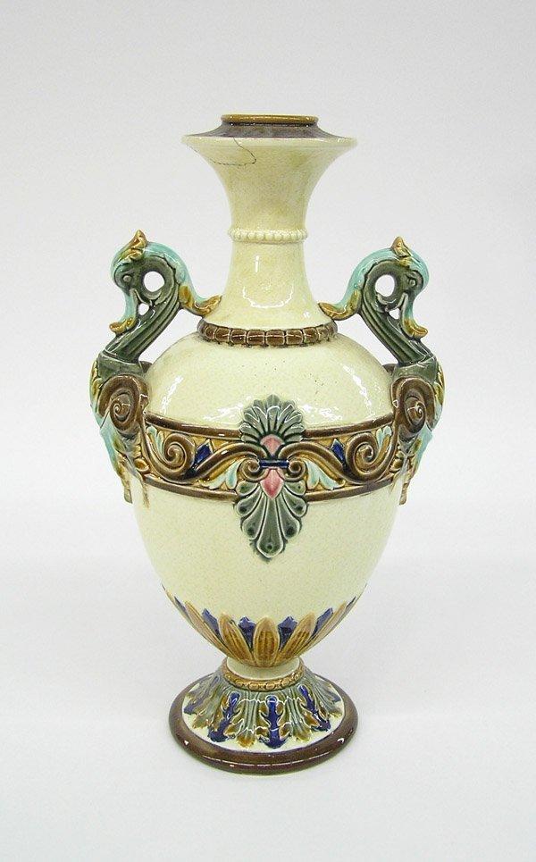 6020: Majolica zoomorphic two-handled urn