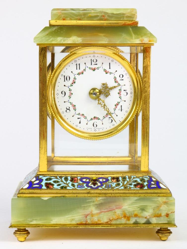 French onyx and champleve clock