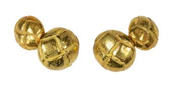 Pair of Tiffany  Co 18k yellow gold cufflinks