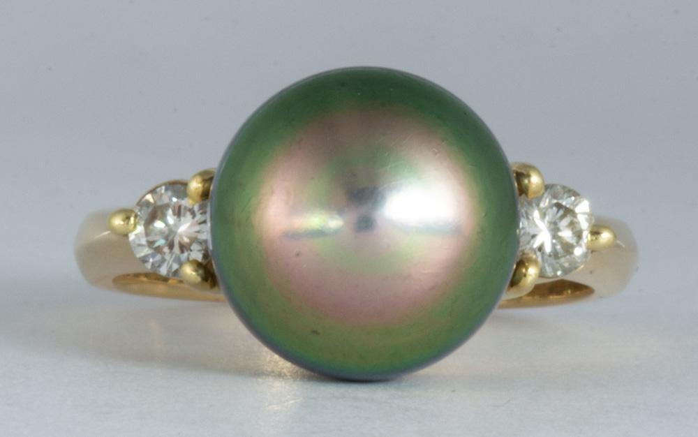 Tahitian cultured pearl, diamond, 18k yellow gold ring