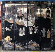 (Lot of 4) Chinese Black Lacquer Four-panel Screen