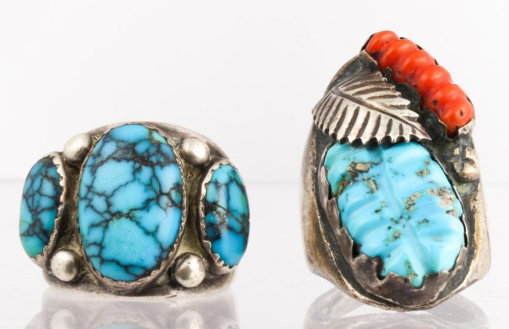 (Lot of 2) Native American turquoise, coral, silver