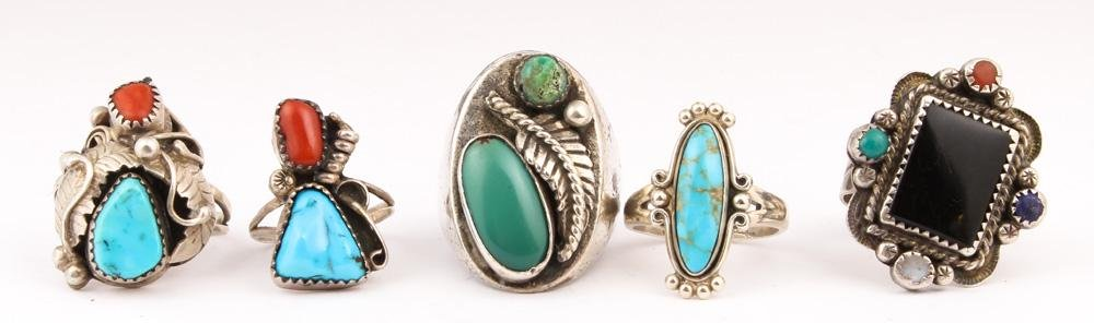 (Lot of 5) Native American multi-stone, sterling