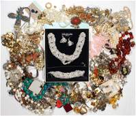 Collection of 2 bags of costume jewelry and items