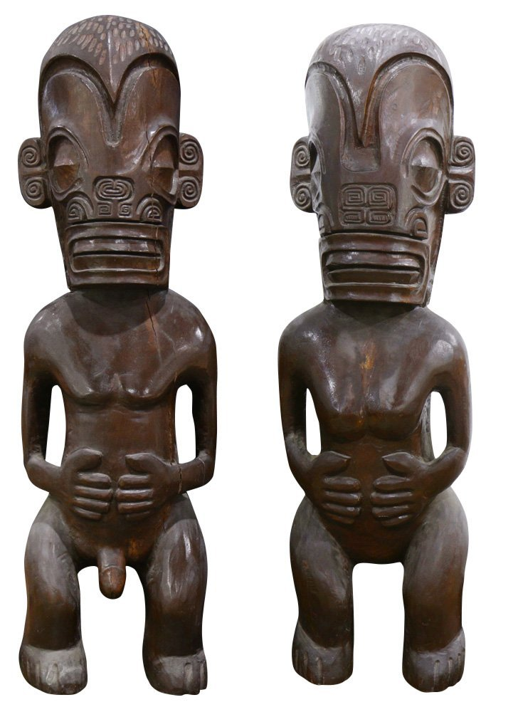 Pair of Polynesian Marquesas Islands style standing