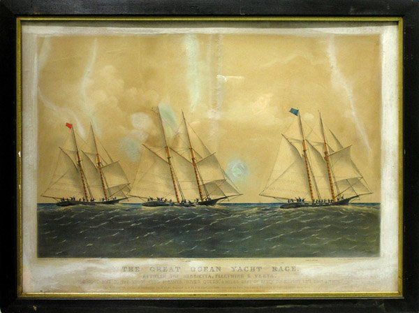 331: Lithograph Currier Ives Yacht Race