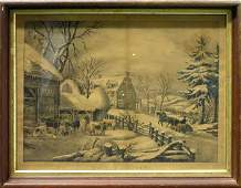 335 Lithograph Currier Ives Winter Morning