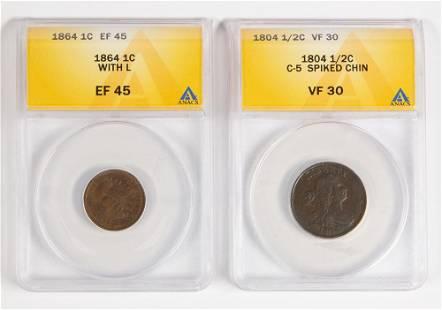 12C 1804 coin 1864 Indian head