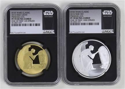 Star Wars Princess Leia Niue GoldSilver Set