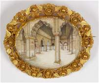 Victorian painted architectural miniature and 14k