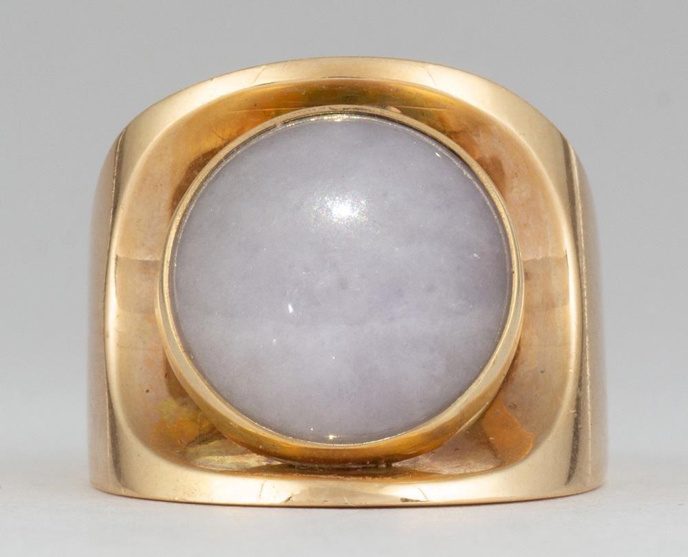 Jadeite, 14k yellow gold ring