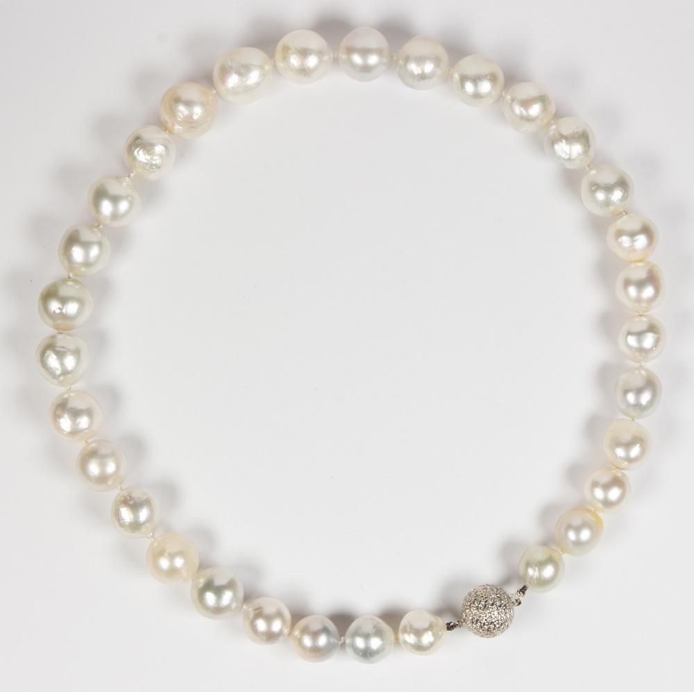 South Sea cultured pearl, diamond, 18k white gold