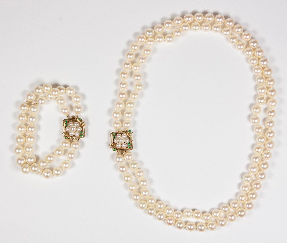 Cultured pearl, emerald, gold convertible