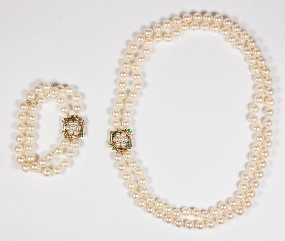 Cultured pearl, emerald, gold convertible