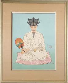 Japanese Modern Woodblock Print, Paul Jacoulet