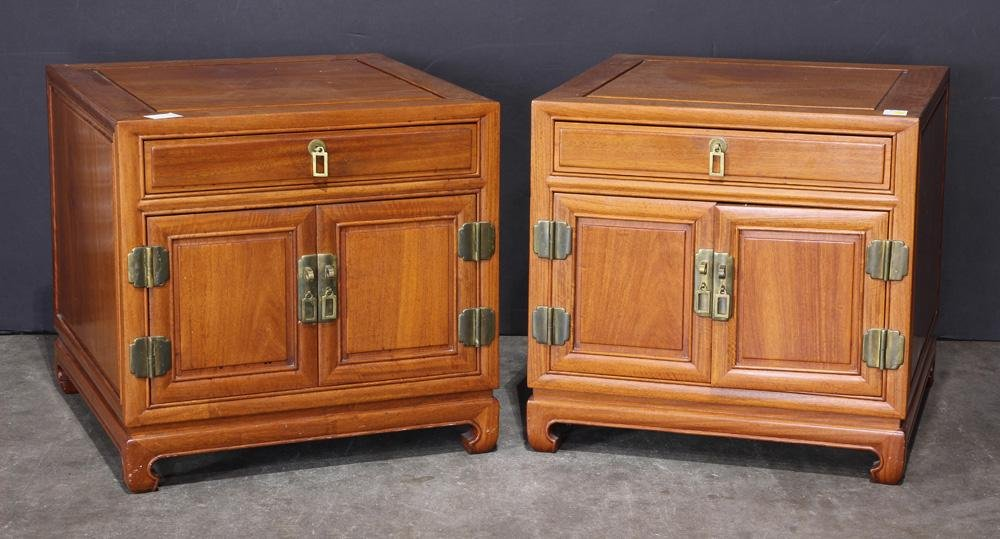 (lot of 2) Asian style Wood night stands
