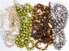 Collection of cultured pearl diamond yellow gold