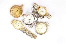 Lot of 5 14k yellow gold metal watches