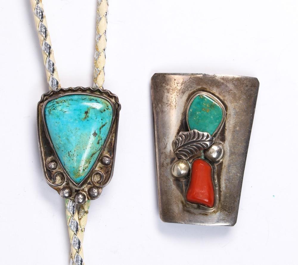 (Lot of 2) Native American, multi-stone, silver bolo