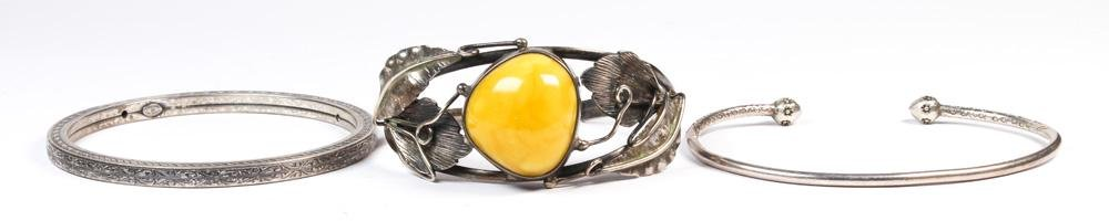 (Lot of 3) Amber, sterling silver, silver bracelets