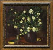 Painting Still Life with White Roses