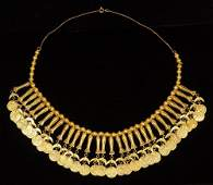 18k and 14k yellow gold coin-form necklace