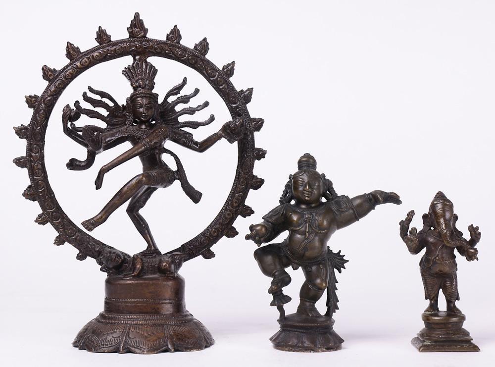 (lot of 3) Hindu Bronze Figures of Shiva, Krishna,