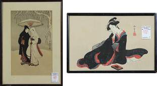 (lot of 2) Japanese Woodblock Prints, Harunobu, Shunsho