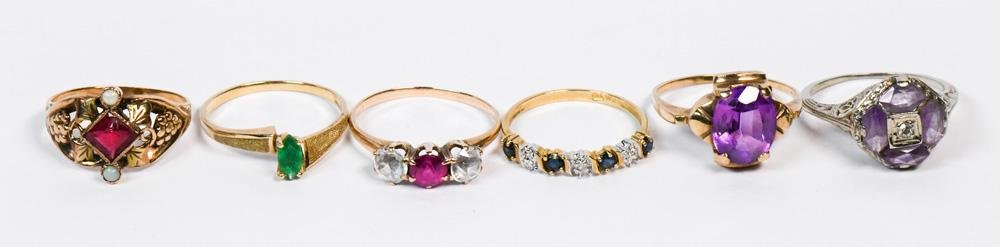 (Lot of 6) Multi-stone, gold rings