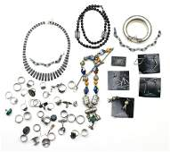 Collection of multistone sterling silver silver