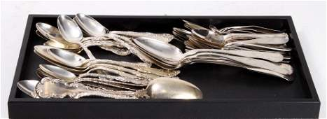 Lot of sterling and coin silver spoons, many with