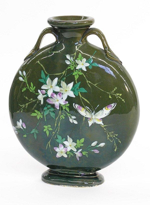 4013: Art Pottery moon flask vase