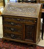6419 Victorian carved oak slant lid desk