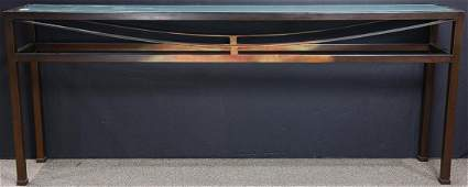 A contemporary glass and patinated metal console table