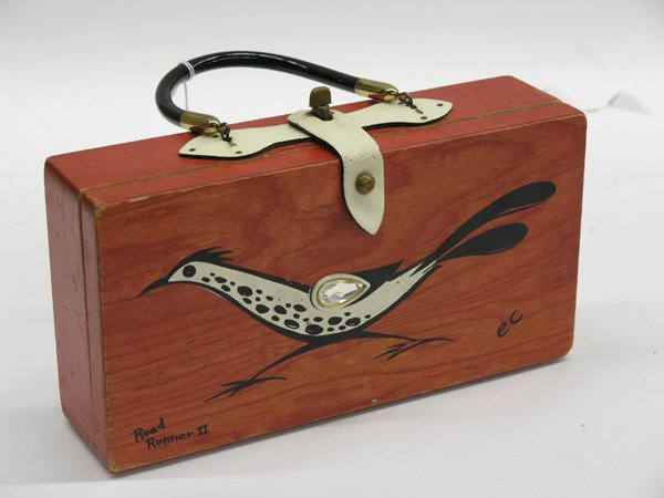 5921: Hand decorated wood handbag, Collins