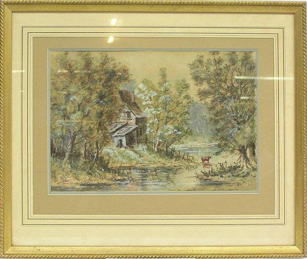 10: Watercolor Landscape Cow Waite