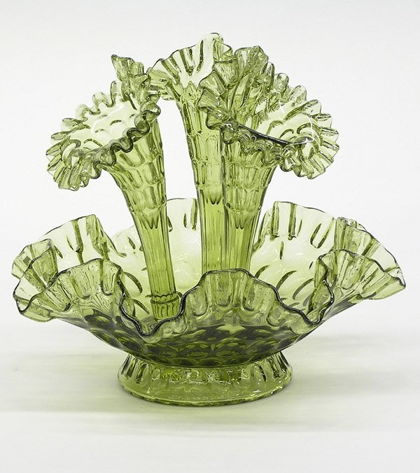 15: Fenton green art glass epergne
