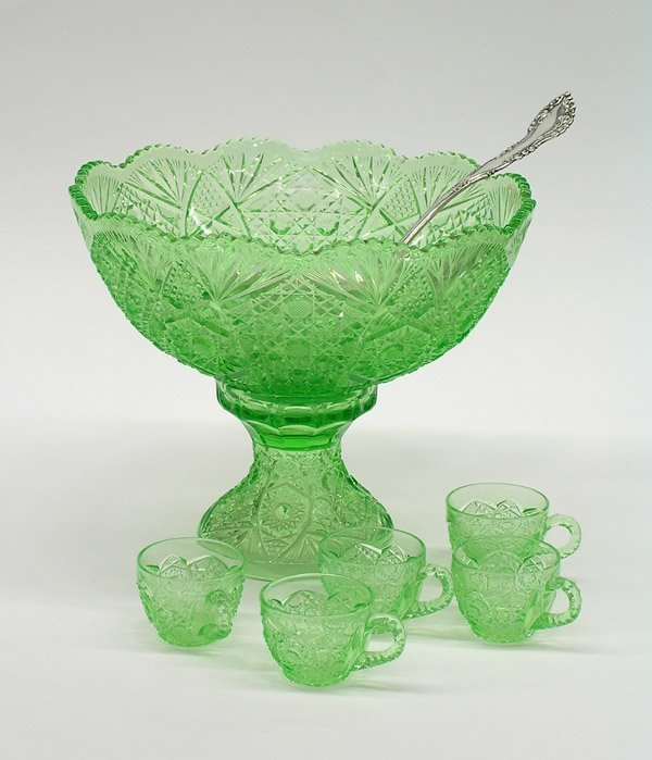 19: Cut and pressed green glass punch set
