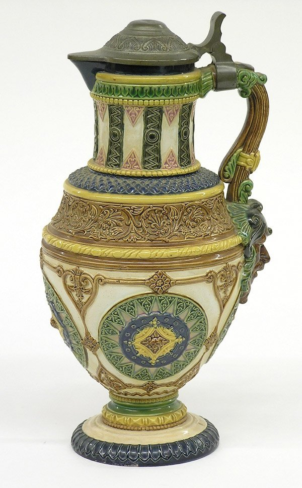 2023: Majolica ewer with pewter lid
