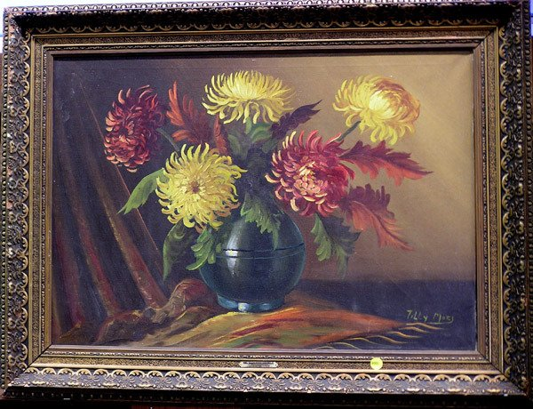 4005: Oil painting, floral still life, Dutch