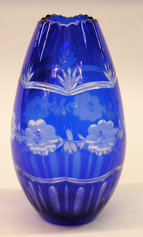 4019: Cobalt cut glass egg shaped vase