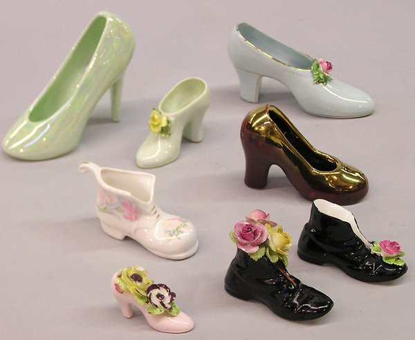 4021: British bone china decorative slippers