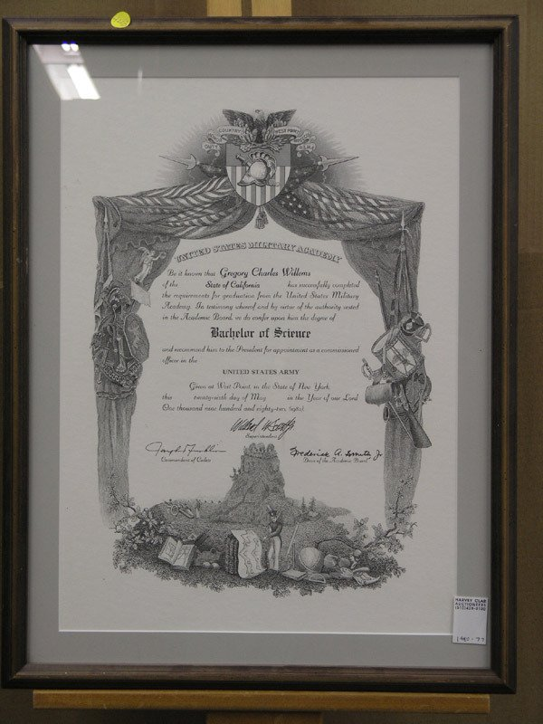 4203: Framed West Point diploma, 1982