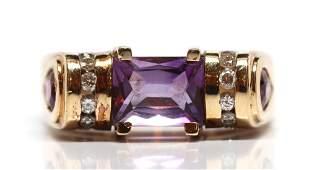 Multi-stone, diamond, 14k yellow gold ring