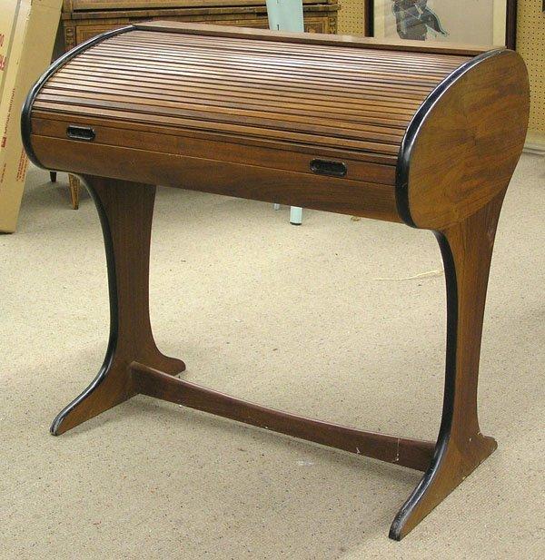 4221: Walnut modern cylinder roll desk