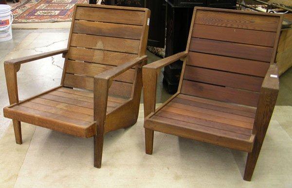 4232: midcentury redwood patio armchairs
