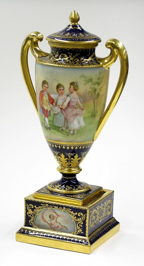 6002: Hand painted covered mantel urn Joster