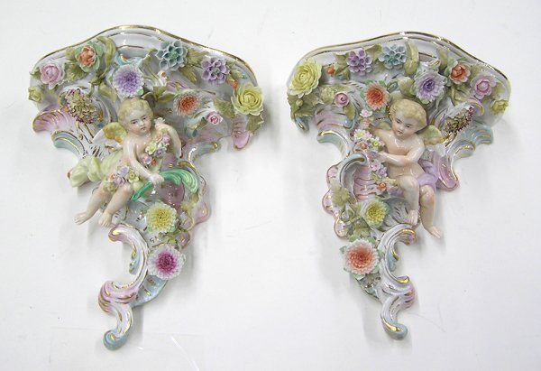 6008: Dresden painted porcelain wall sconces
