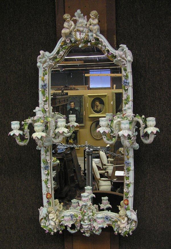 6017: Sitzendorf German ornate mirror
